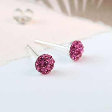 Sterling Silver Pink Crystal Shamballa Earrings